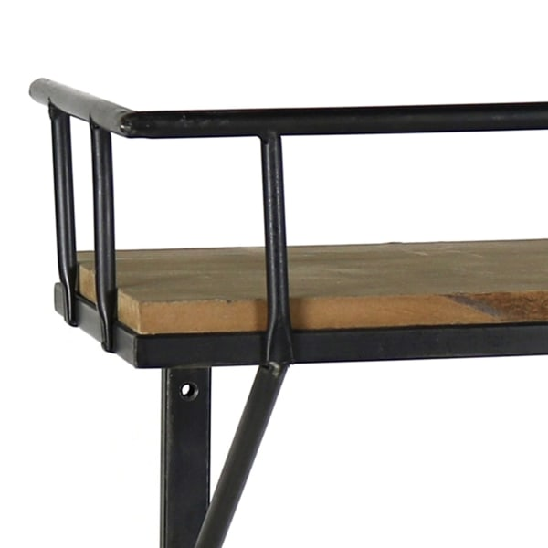 Black and Brown Wooden Transitional Style Wall Shelf with Metal Brackets