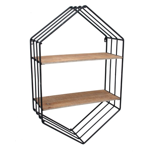 Brown and Black Hexagonal Metal Frame with 2 Display Cases Wall Shelf