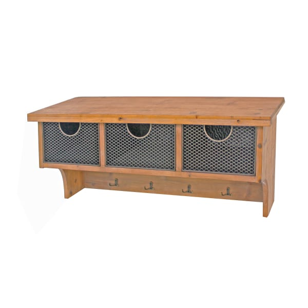 Brown Wooden Wall Shelf with 4 Hooks and 3 Wire Baskets