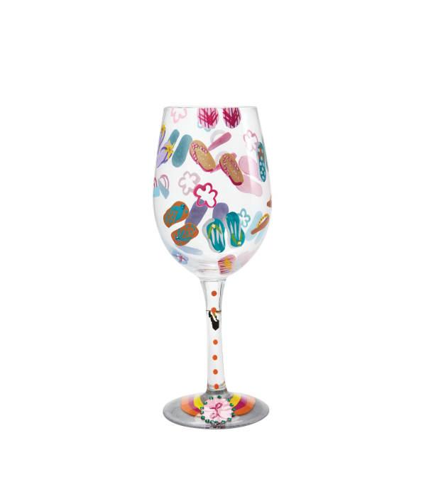 Flip Flops Too Wine Glass