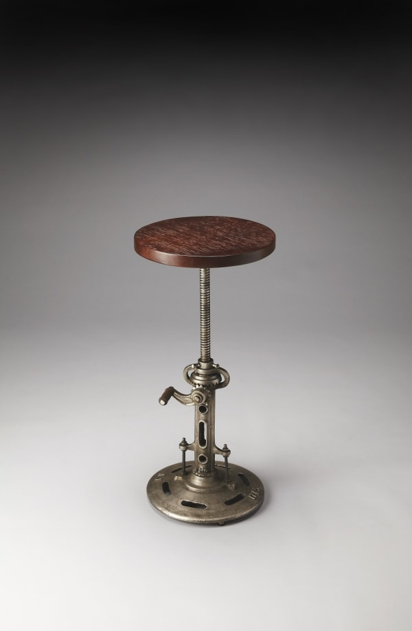 Antique Wood and Metal Bar Stool