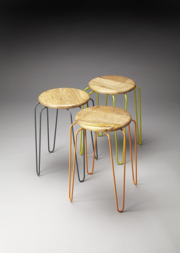 Stackable Iron Colored Stools