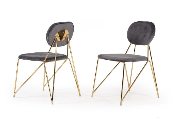 Mid Century Mod Grey Velvet and Gold Set of 2  Dining Chairs