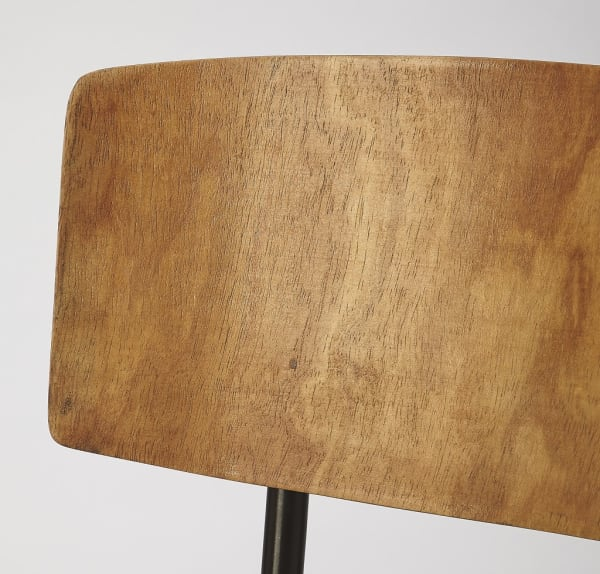 Metal and Wood Leather Dining Chair
