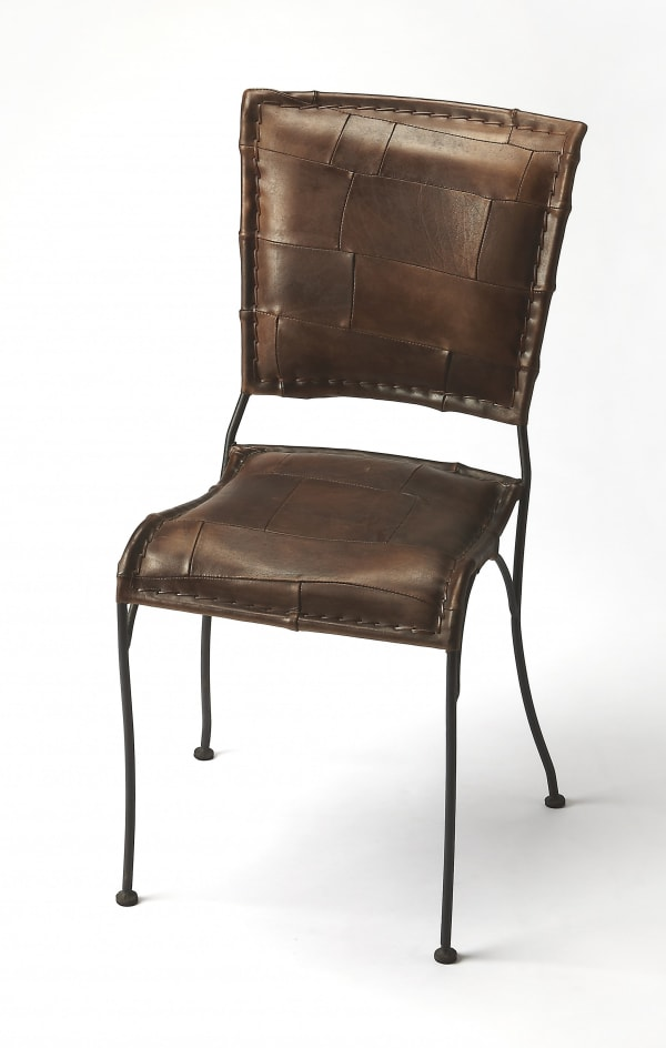 Unique Patchwork Brown Leather Dining Chair