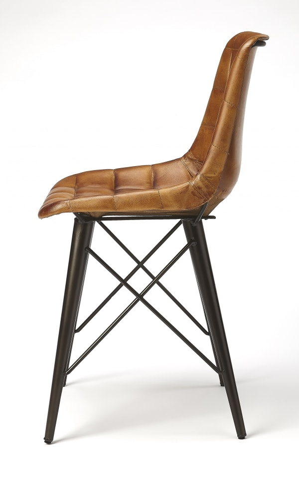 Stitched Squares Brown Leather Dining Chair