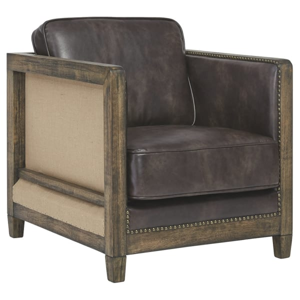 Brown Wooden Track Arm Accent Chair
