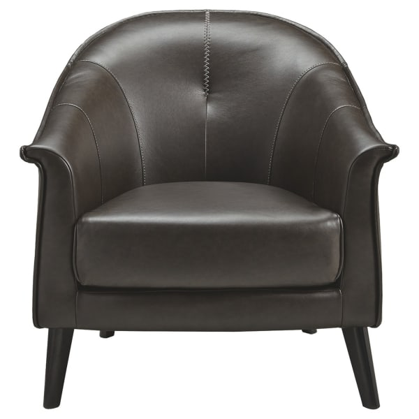Black Flared Arms Leatherette Accent Chair
