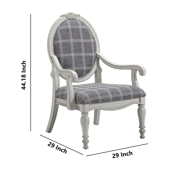 Gray and Plaid Pattern Accent Chair