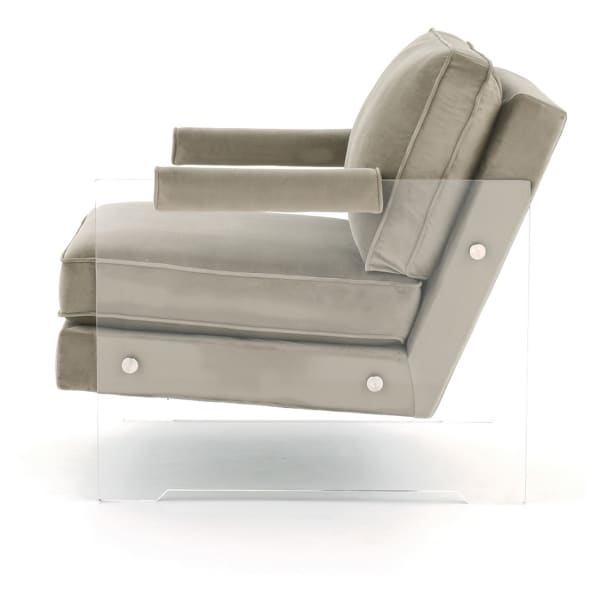 Gray and Clear Acrylic Base Fabric Accent Chair