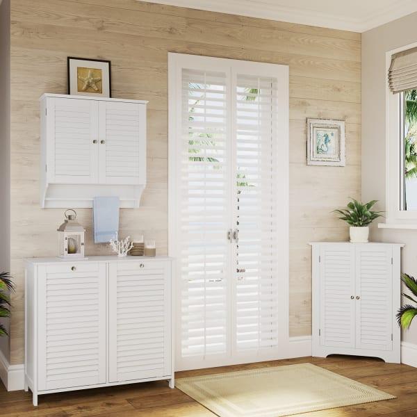 Ellsworth Tilt-Out Double White Laundry Hamper