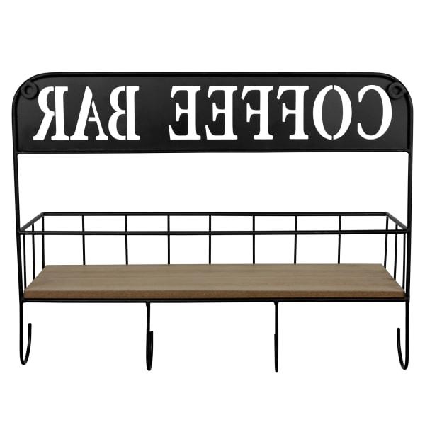Coffee Bar Metal and Wood Wall Shelf