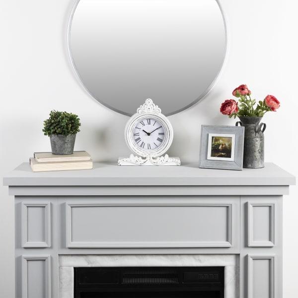 Vintage Look White Distressed Table Clock