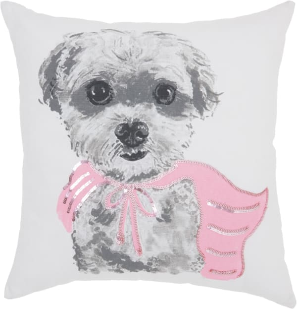 White and Pink Super Pup Throw Pillow