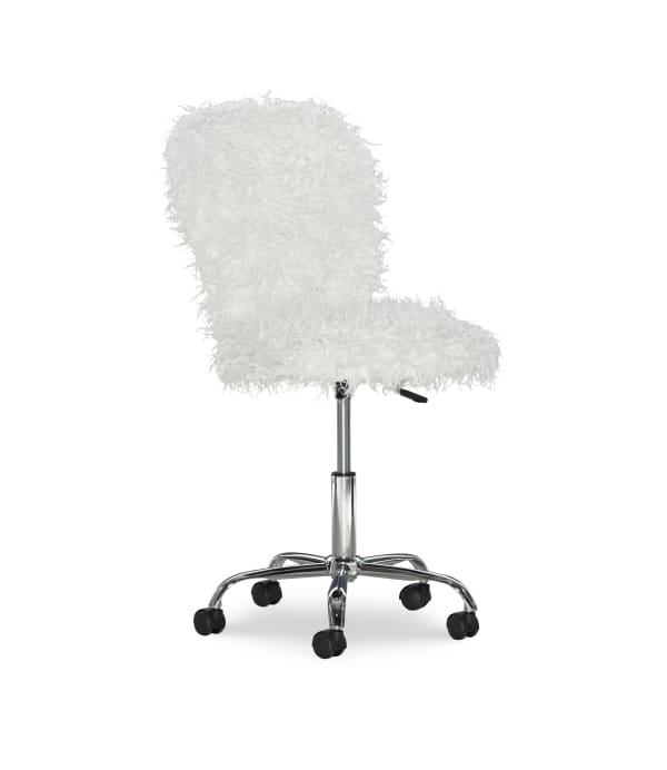 Faux Flokati Armless White Office Chair