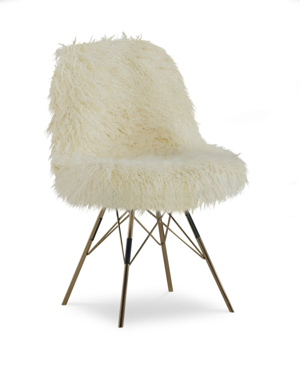 Jamie Faux Flokati with Gold Legs Chair