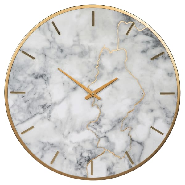 Faux Marble Round Gold and White Metal Wall Clock