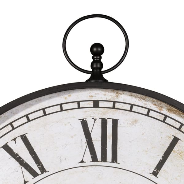 Roman Numerals Round Black and White Metal Wall Clock