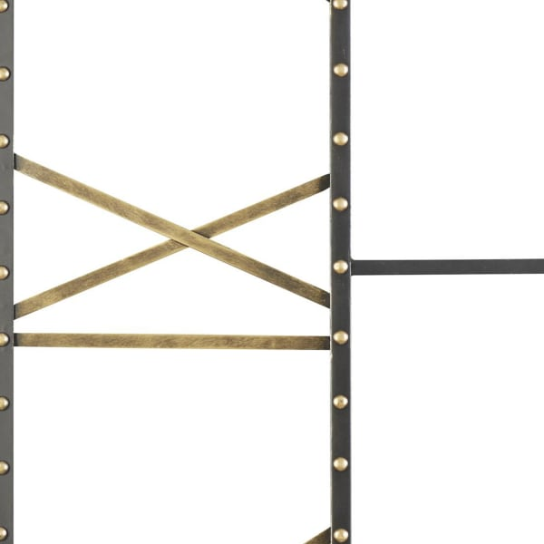 Open Frame Roman Numerals Square Black and Gold Metal Wall Clock