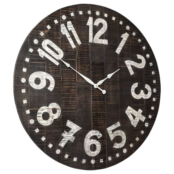 Round Brown and White Wooden Wall Clock