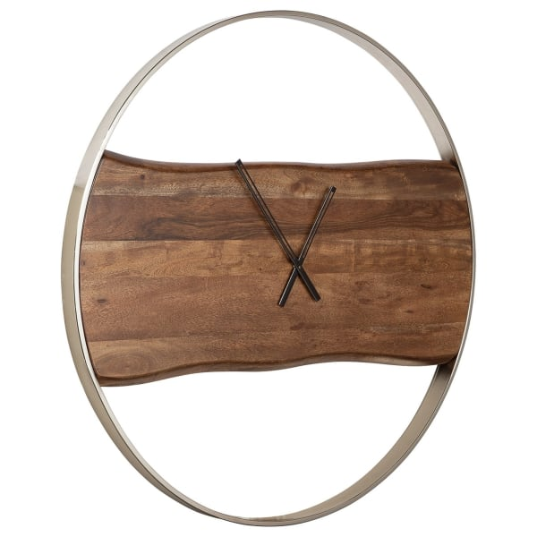 Faux Live Edge Design Brown and Silver Wall Clock