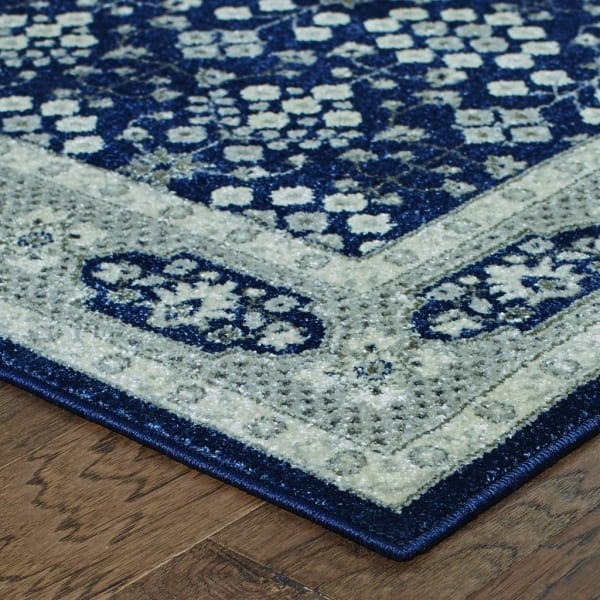 Round Navy and Gray Floral Ditsy Area Rug