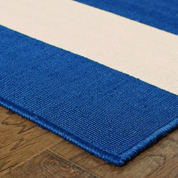 Round Blue and Ivory Striped Outdoor Area Rug