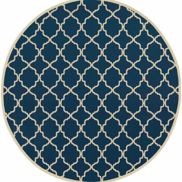 Round Blue and Ivory Trellis Outdoor Area Rug