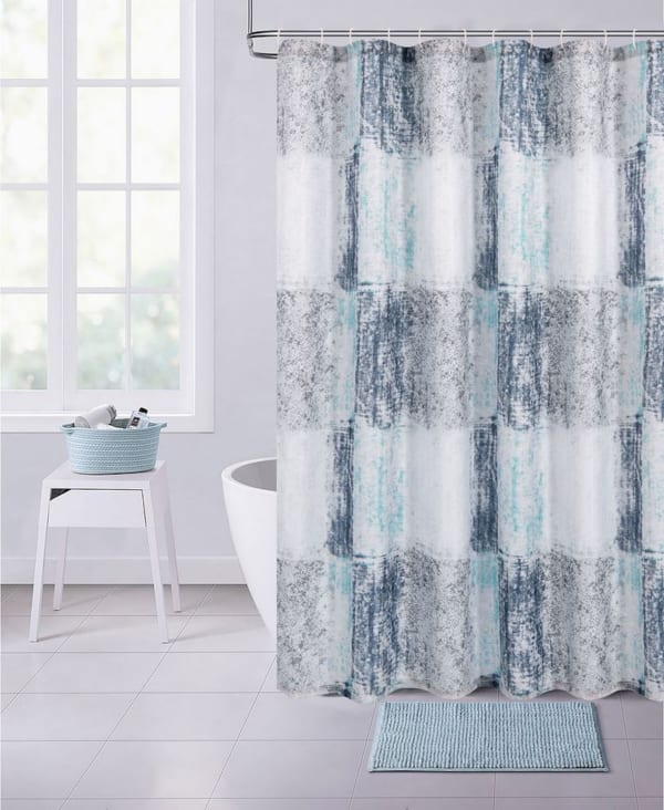 Squares Printed Waffle Shower Curtain