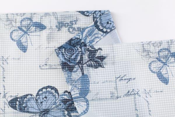 Butterflies Printed Waffle Shower Curtain Set
