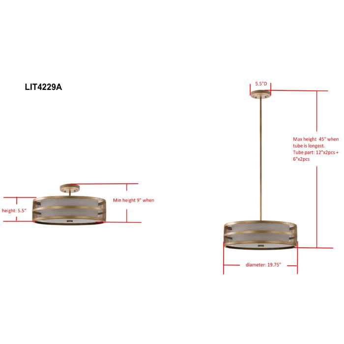 Gold Cutout Adjustable Pendant Light