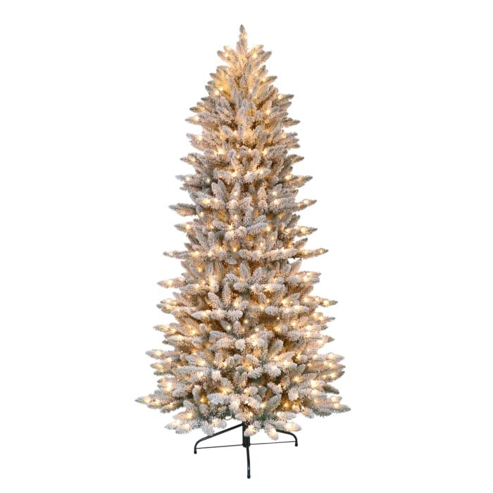 7.5' Pre-Lit Flocked Slim Fraser Fir Artificial Christmas Tree
