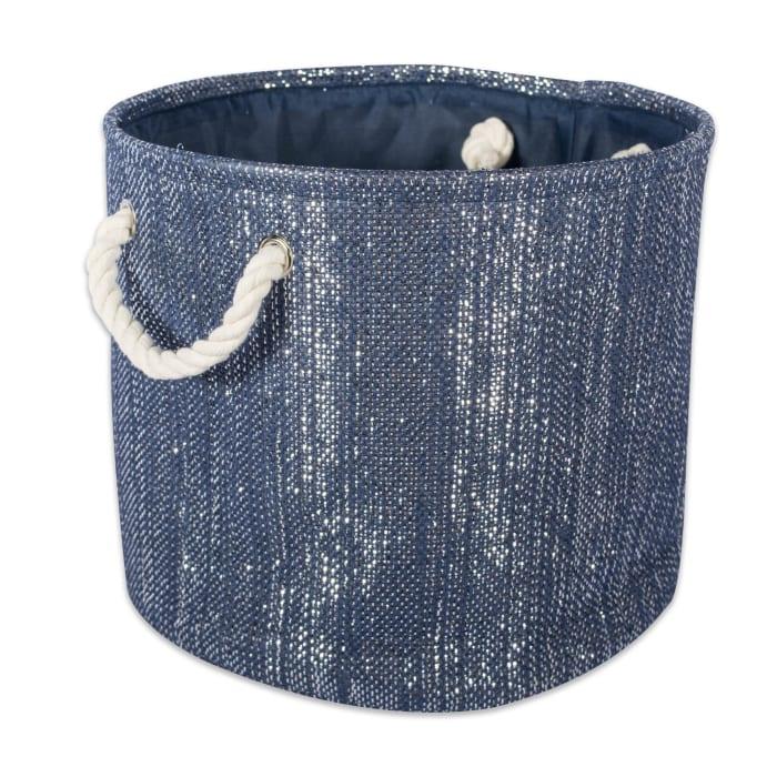 Paper Bin Lurex Nautical Blue/Silver Round Medium 13.75x13.75x17