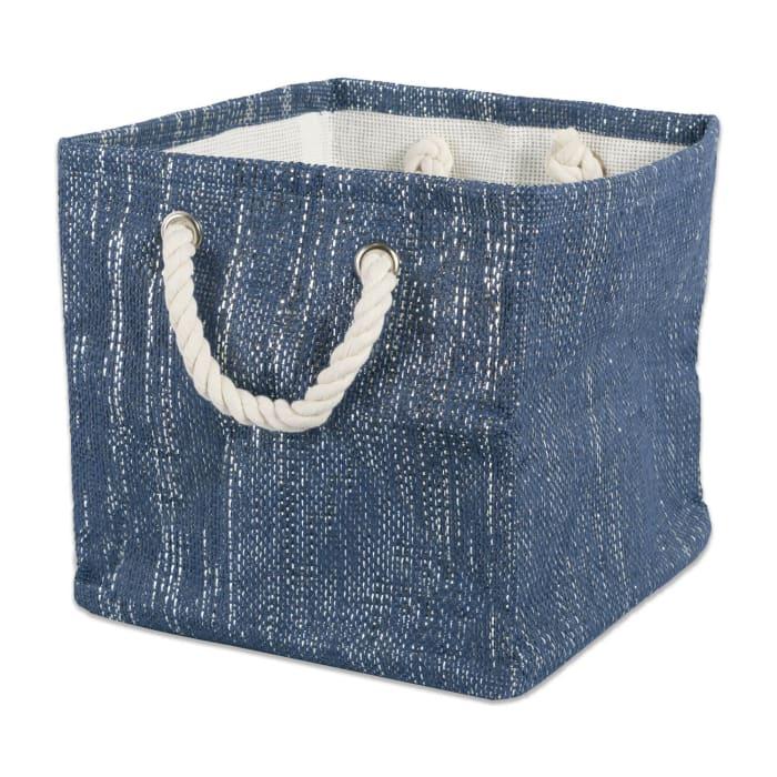 Paper Bin Lurex Nautical Blue/Silver Square 11x11x11