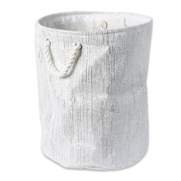 Paper Bin Lurex White/Silver Round Medium 13.75x13.75x17