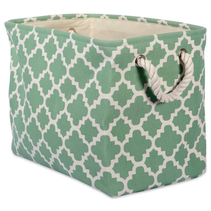 Polyester Bin Lattice Bright Green Rectangle Medium 16x10x12