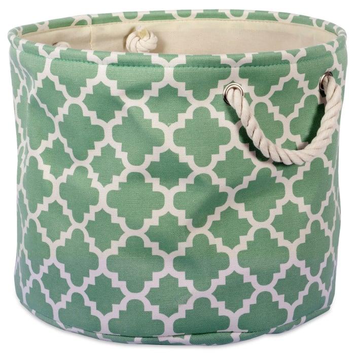 Polyester Bin Lattice Bright Green Round Small 12x12x9
