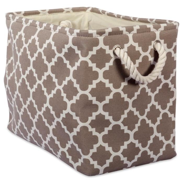 Polyester Bin Lattice Brown Rectangle Large 17.5x12x15