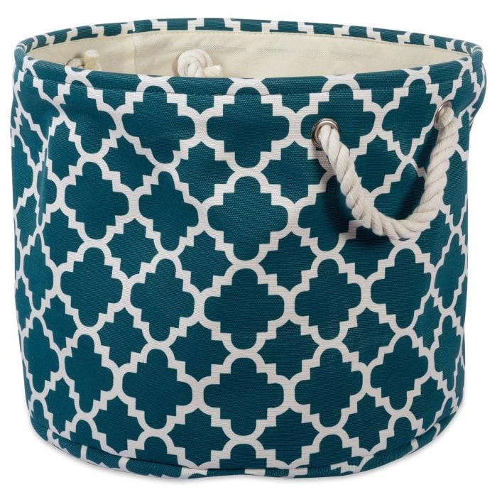 Polyester Bin Lattice Teal Round Large 16x16x15