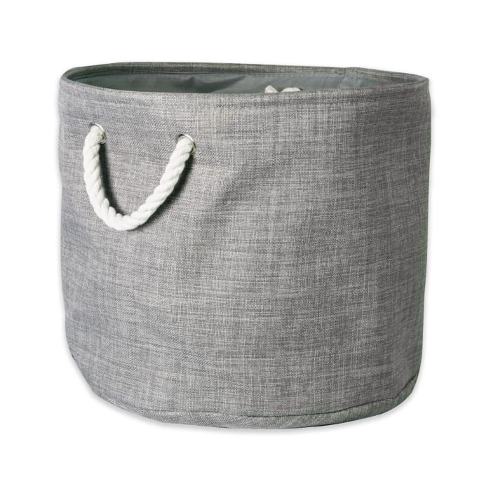 Polyester Bin Variegated Gray Round Large 15x16x16