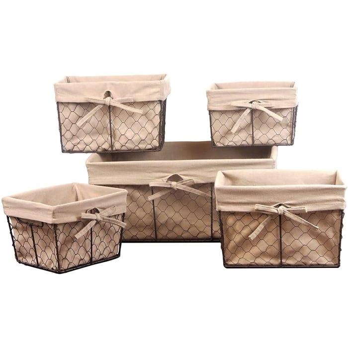 Chicken Wire Basket (Set of 5) Natural