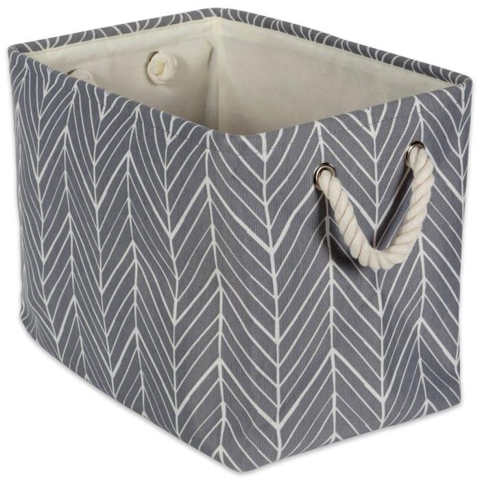Polyester Bin Herringbone Gray Rectangle Large 17.5x12x15