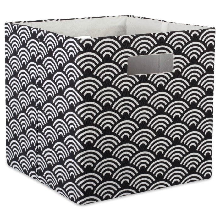 Polyester Cube Waves Black Square 13x13x13
