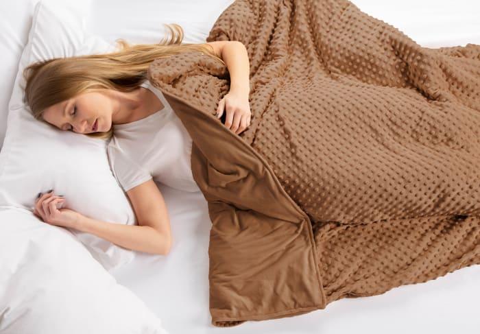 60x80 Chocolate Minky Dot Sensor Weight Blanket Cover