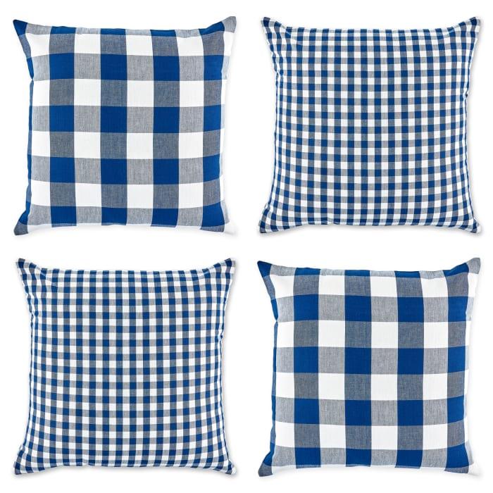 Blue Buffalo Check Pillow Cover Set of 4