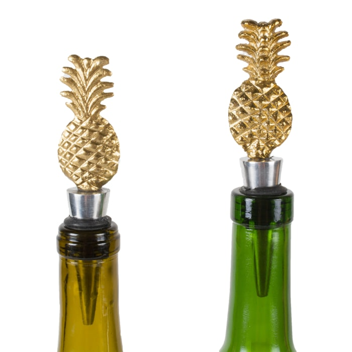 Set of 2 Gold Pineapple Bottle Stoppers