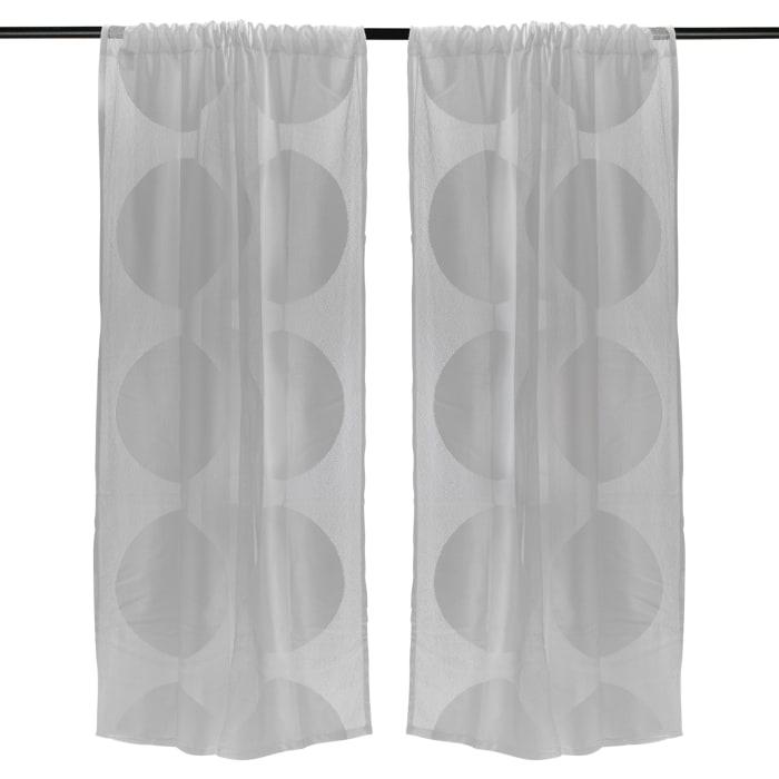 Gray Lace Circle Window Curtain 52x96 Set/2