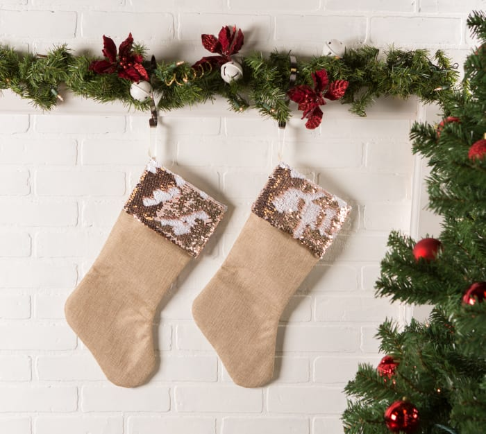 Holiday Stocking Linen With Champagne Sequin Border(Set of 2)