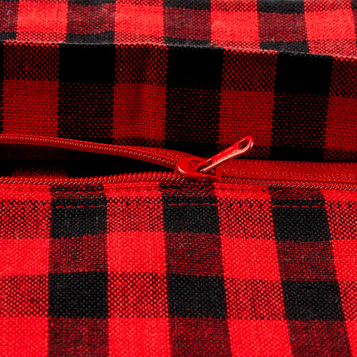 Gingham Check Red/Black Pillow Set of 2