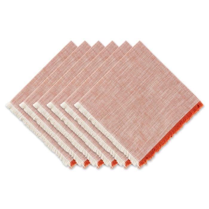 Burnt Orange Tonal Fringe Napkin Set/6
